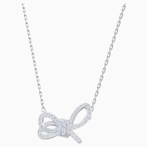 Swarovski Lifelong Bow Necklace, Rhodium Plated